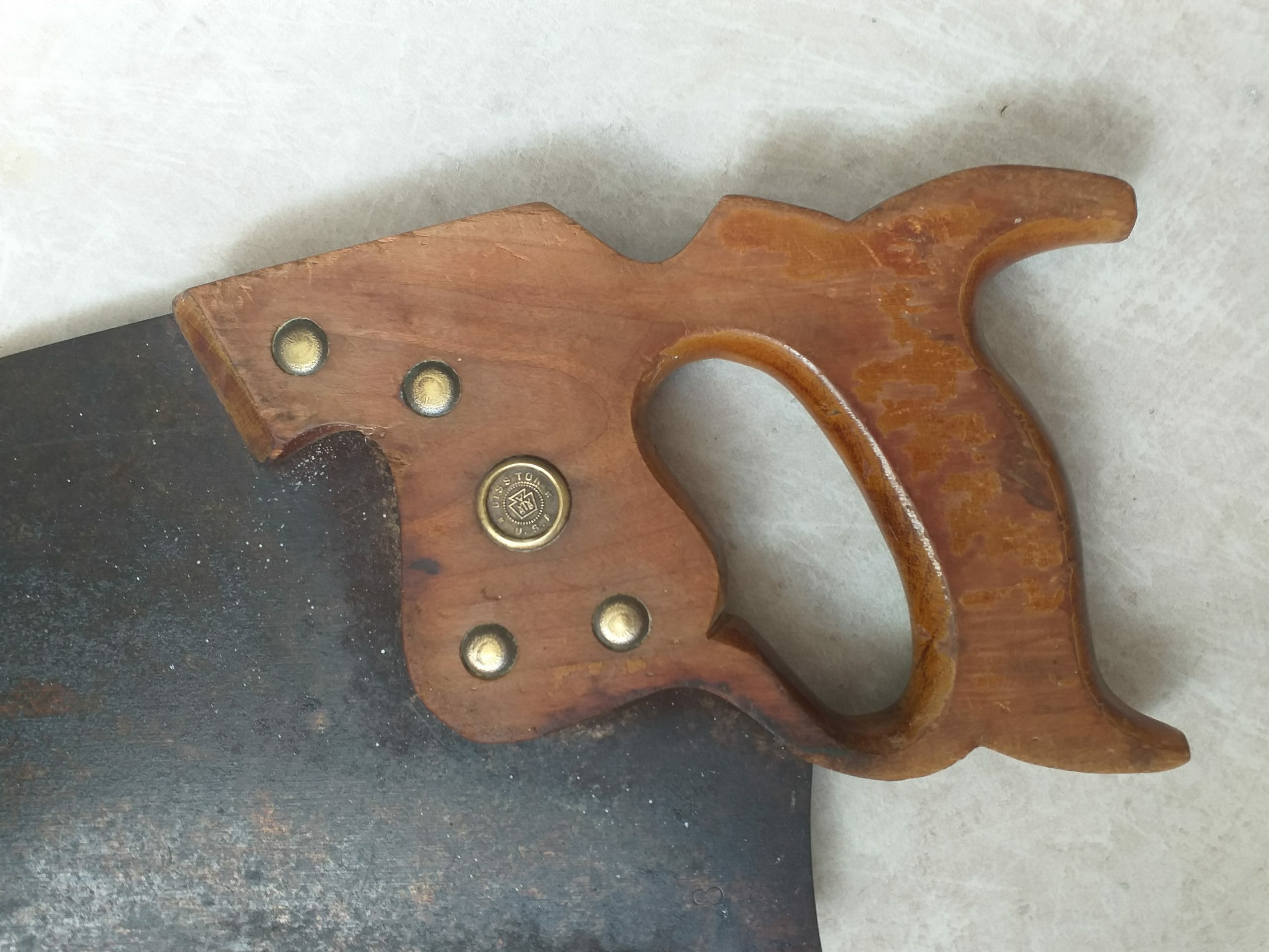 scie américaine 1900 rivet cuivre poinçon marqué USA